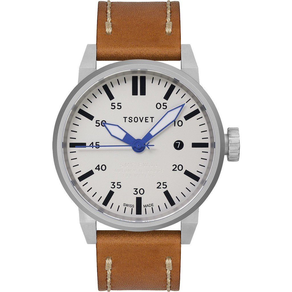 Tsovet SVT-FW44 Automatic White Watch | Brown Leather FW110113-40A
