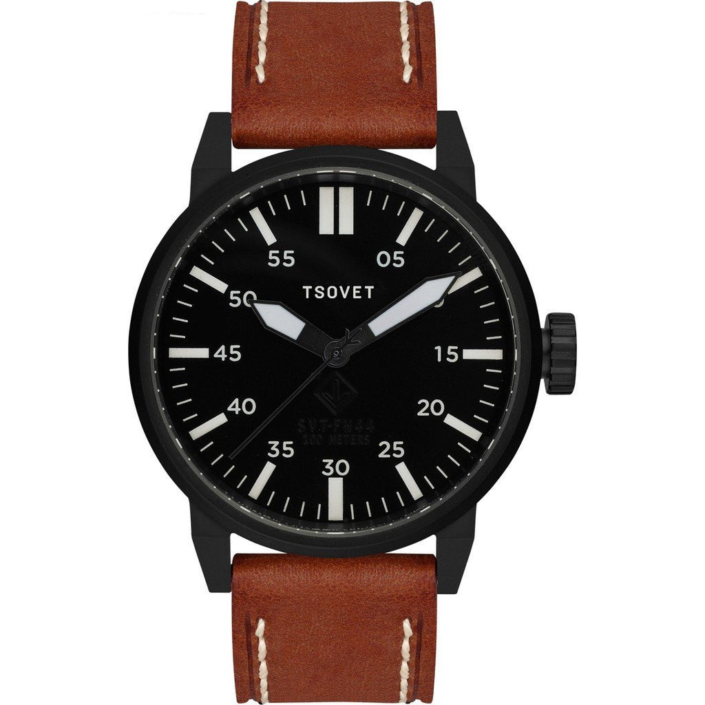 Tsovet SVT-FW44 Matte Black Watch | Brown Leather