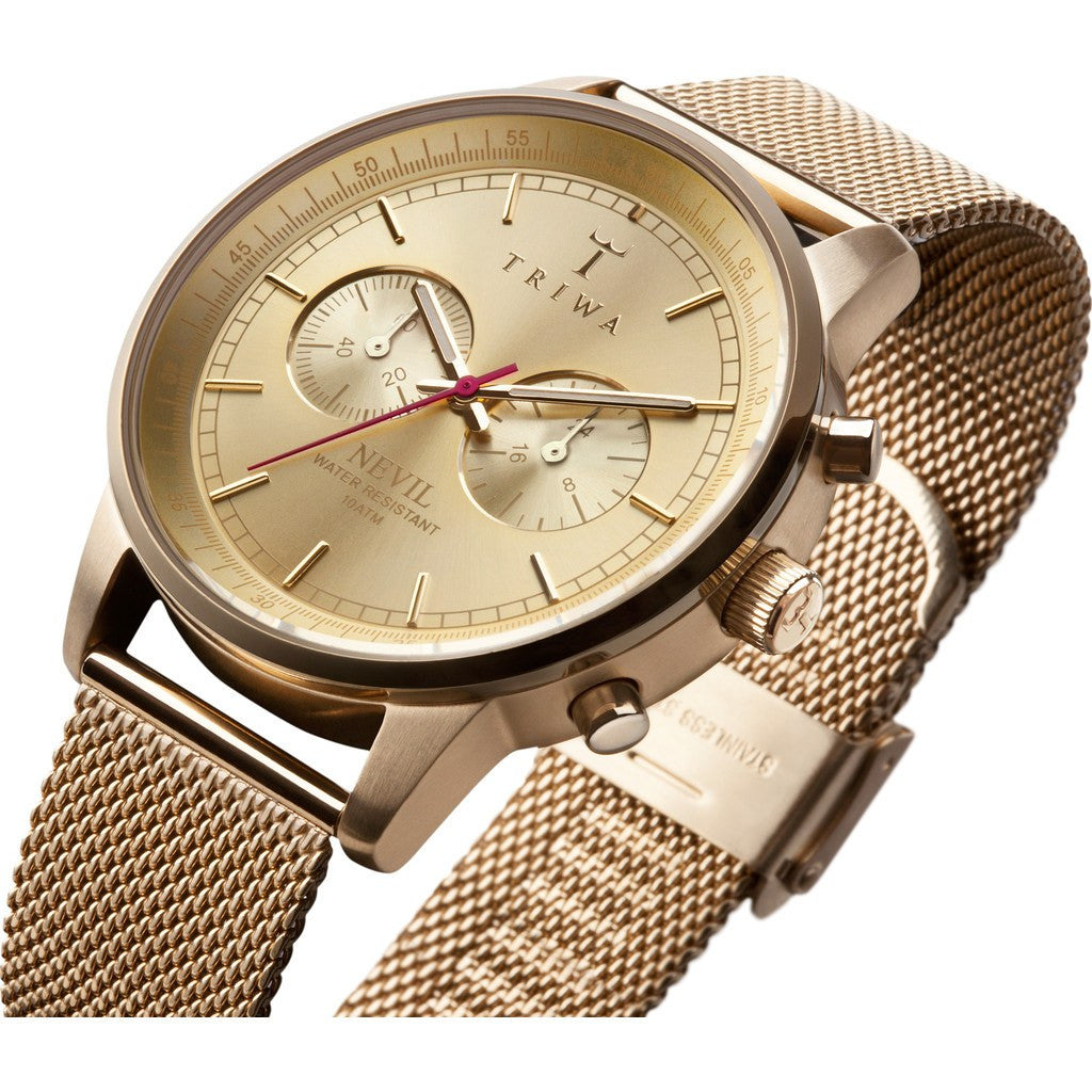 Triwa Gold Nevil Watch | Gold Mesh NEST1042-ME021313