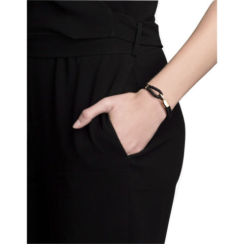 Miansai Women's Gold Plated Single Trice Bracelet w/ Sleeve | Black- 101-0175-001