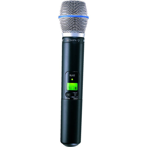 Shure SLX2/BETA87A Handheld Transmitter with BETA87A Microphone | Black/Blue