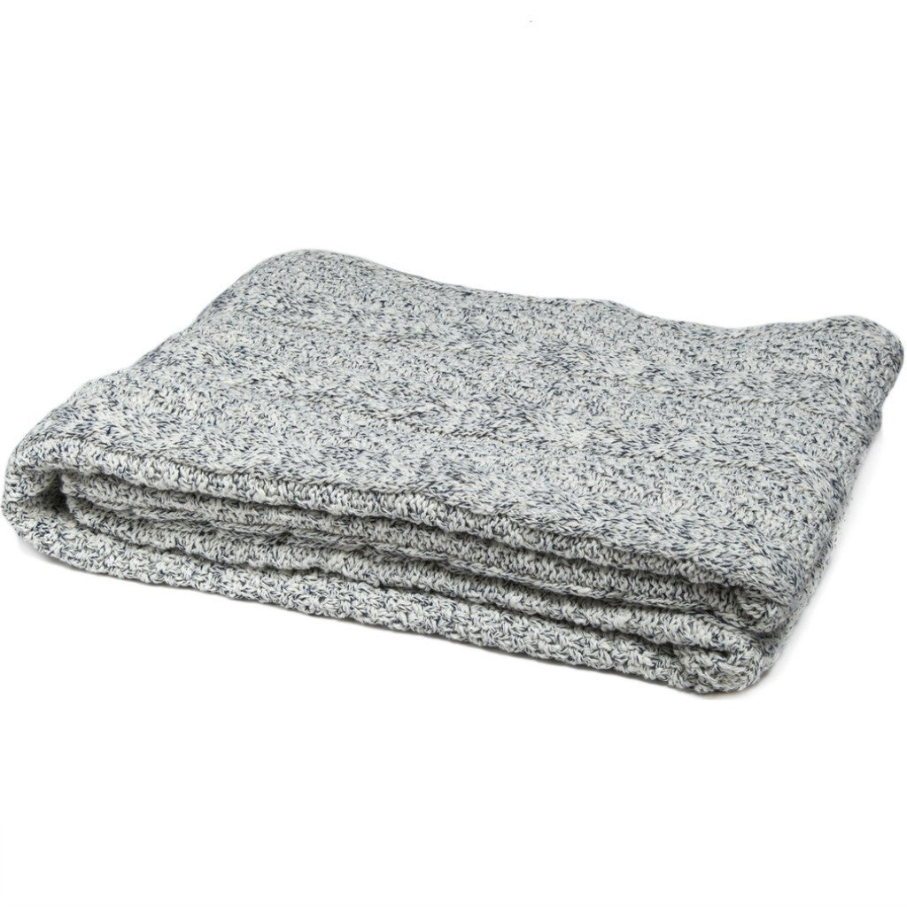 in2green Heathered Chunky Cable Eco Throw | Milk BLCCH1