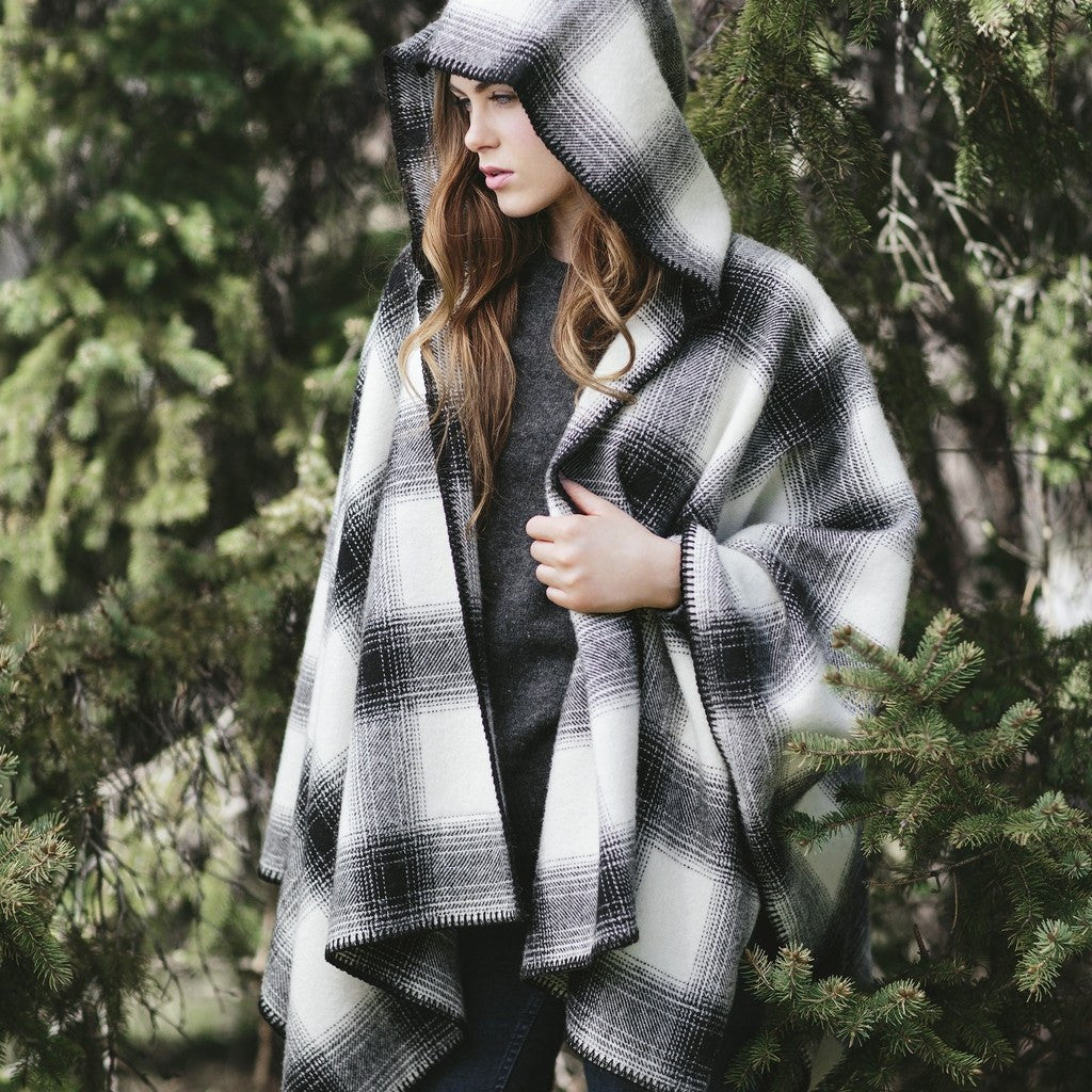 Faribault Hooded Buffalo Ridge Wool Cape Sweater | Natural/Black 17184 One Size