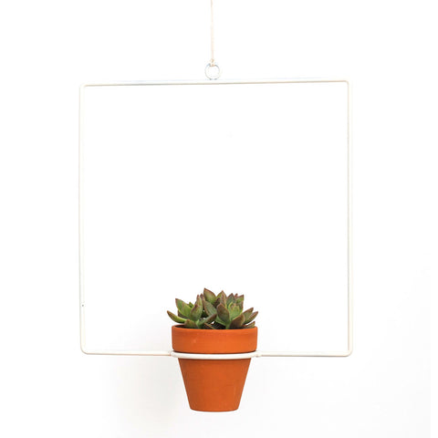 NewMade LA Square Hanging Planter | White- PLH03