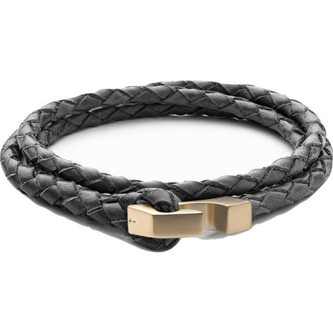 Miansai Ipsum Wrap Bracelet | Matte Gold/Steel Leather 101-0081-026