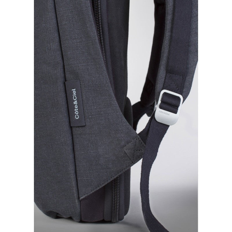Cote et Ciel Isar Medium Raw Canvas Backpack | Anthracite Blue