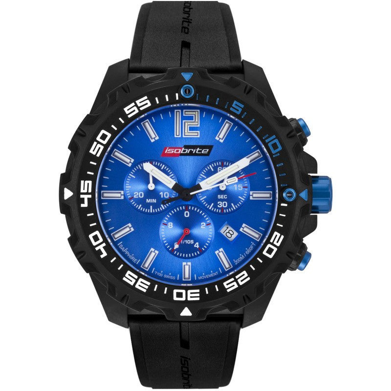 Isobrite T100 Valor Chronograph Men's Watch Black-Blue | Silicone ISO402