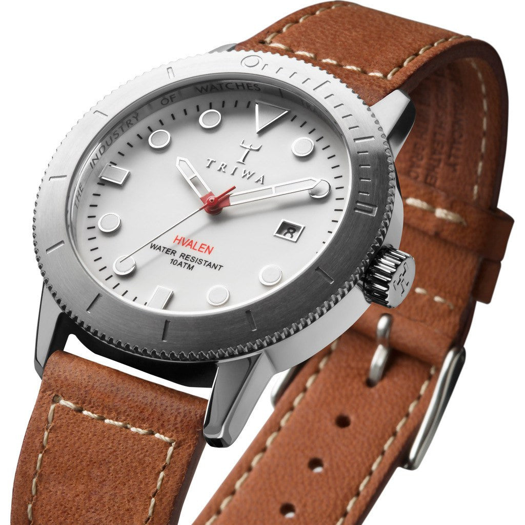 Triwa Ivory Hvalen Watch | Brown Sewn Classic 2 HVST103-SC010212