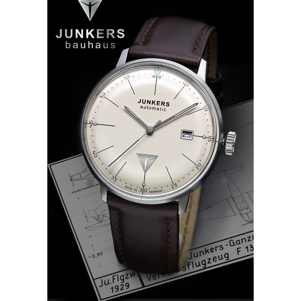Junkers Bauhaus Automatic Watch | Beige/Leather 6050-5