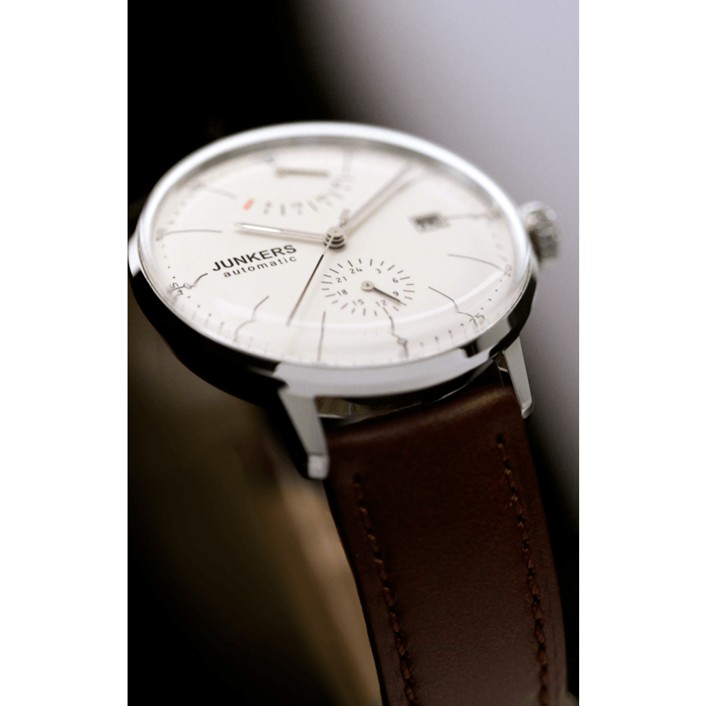 Junkers Bauhaus Power Reserve Automatic Watch | Beige/Leather 6060-5