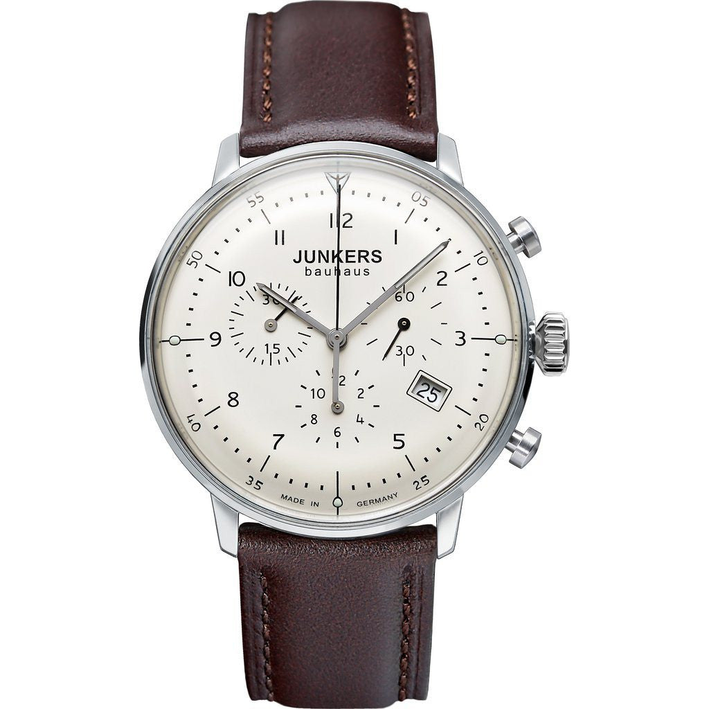 Junkers Bauhaus Chronograph Watch | Beige/Leather 6086-5