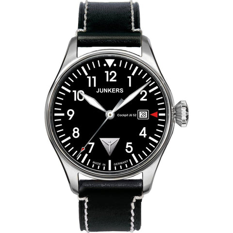 Junkers Cockpit JU52 SuperLuminova Watch | Black/Leather 6144-2