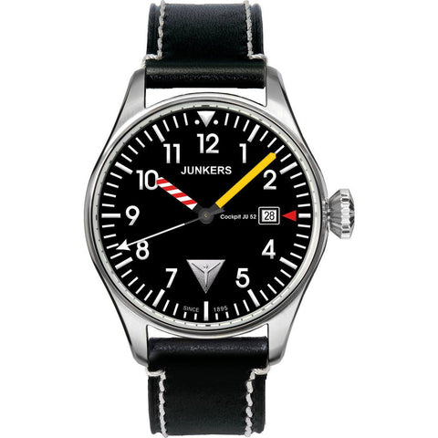 Junkers Cockpit JU52 SuperLuminova Watch | Black/Leather 6144-3
