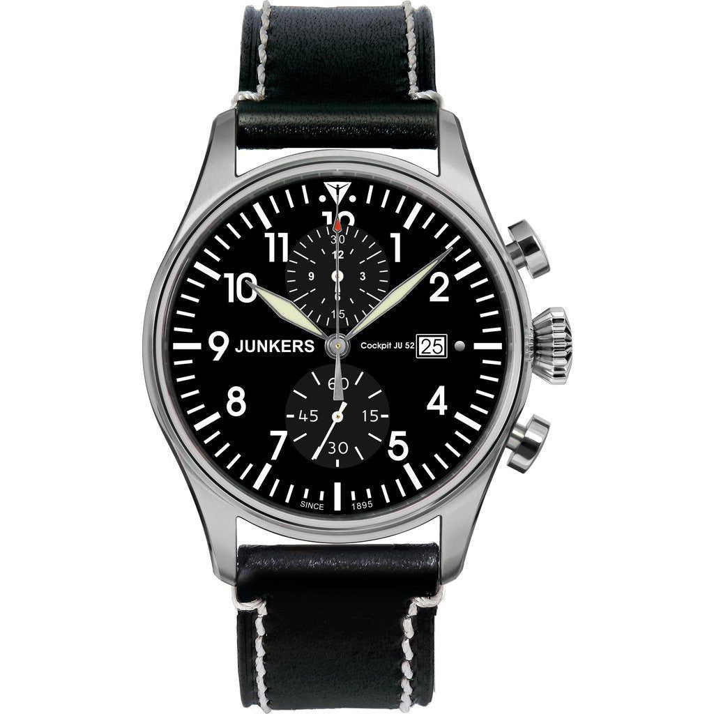 Junkers Cockpit JU52 SuperLuminova Titanium Chronograph Watch | Black/Leather 6178-2