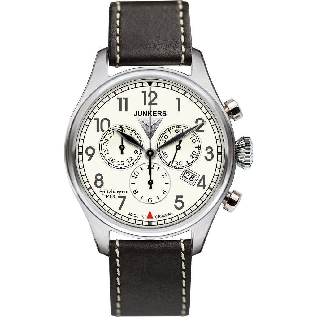 Junkers Cockpit JU52 Chronograph Watch | Beige/Leather 6180-5