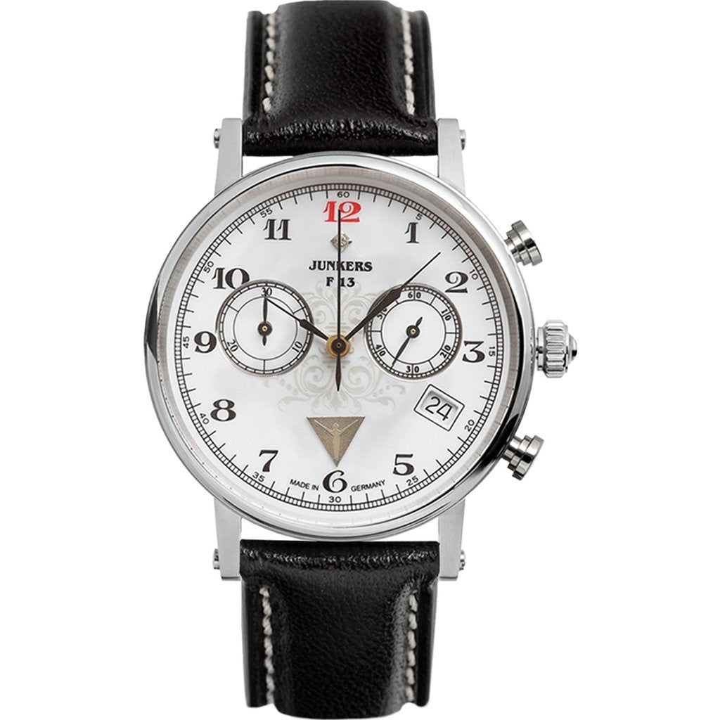 Junkers Expedition South America Chronograph Watch | White/Black Leather 6587-1