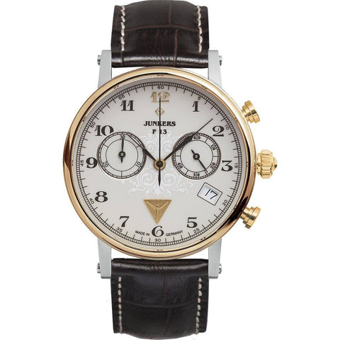 Junkers Expedition South America Chronograph Watch | White/Brown Leather 6587-5
