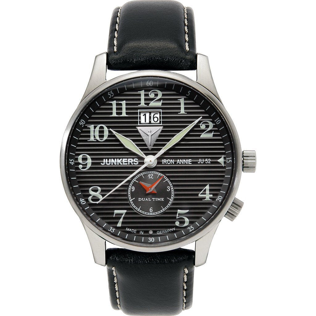 Junkers Iron Annie JU52 SuperLuminova Dual Time Watch | Black/Leather 6640-2