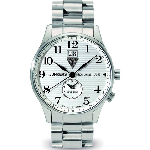 Junkers Iron Annie JU52 Dual Time Watch | White/Metal 6640M-1