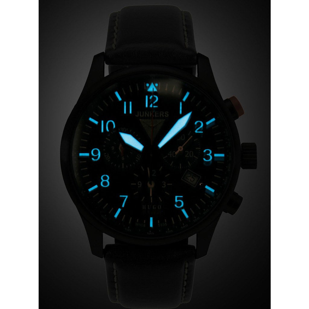 Junkers Hugo Junkers SuperLuminova Alarm Chronograph Watch | Black/Leather 6684-2