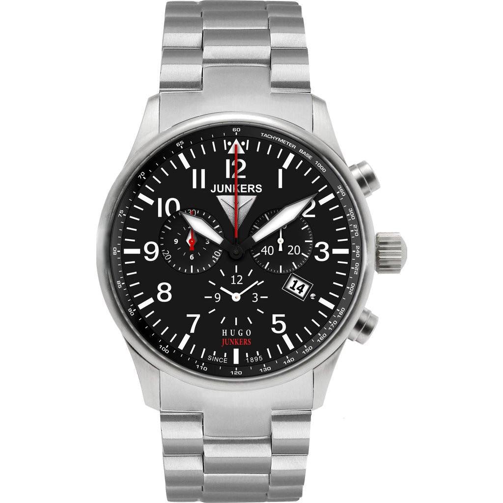 Junkers Hugo Junkers SuperLuminova Alarm Chronograph Watch | Black/Metal 6684M-2