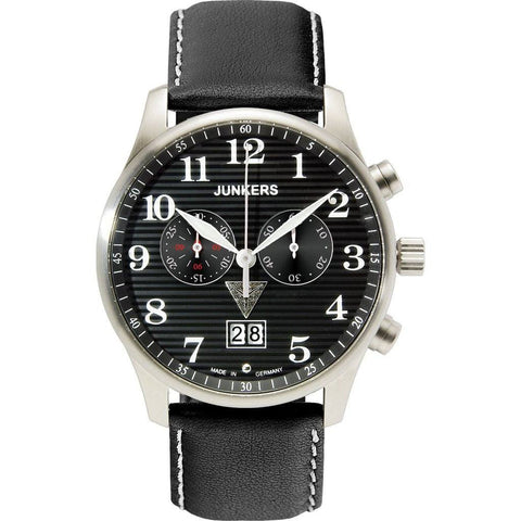 Junkers Iron Annie SuperLuminova Chronograph Watch | Black/Leather 6686-2