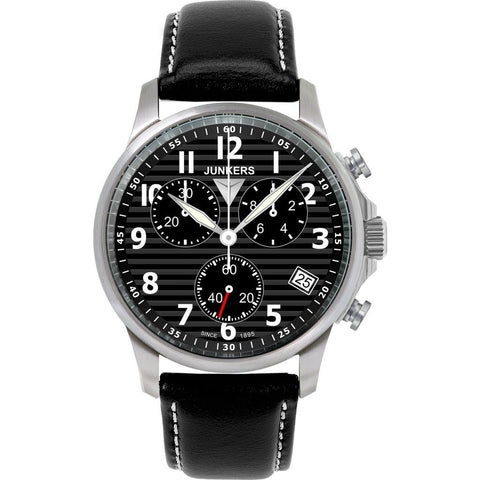 Junkers Tante JU SuperLuminova Chronograph Watch | Black/Leather 6890-2