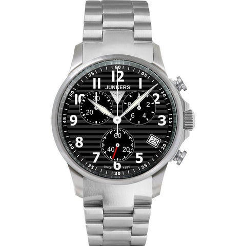 Junkers Tante JU SuperLuminova Chronograph Watch | Black/Metal 6890M-2