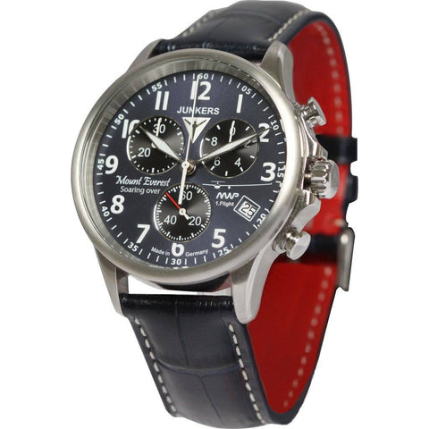 Junkers Mount Everest MWP SuperLuminova Chronograph Watch | Blue/Leather 6894-3