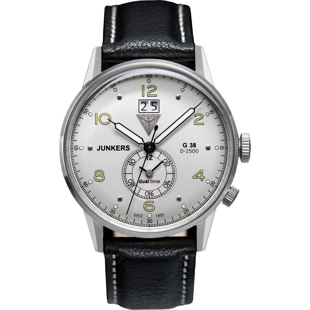 Junkers G38 SuperLuminova GMT Watch | White/Leather 6940-4
