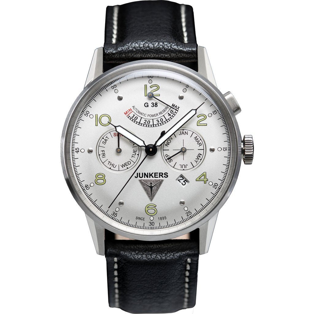 Junkers G38 SuperLuminova Power Reserve Automatic Watch | White/Leather 6960-4