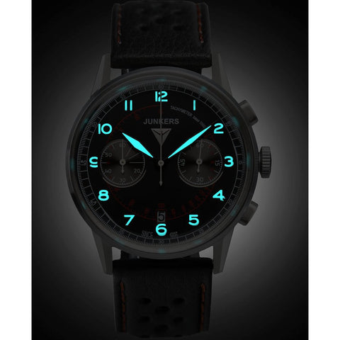 Junkers G38 SuperLuminova Chronograph Watch | Black/Leather 6970-2