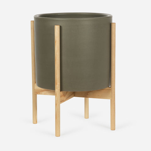 Modernica Case Study Large Cylinder with Metal Stand | Pebble CER-W-CYL-13.125-12-MET-PEB