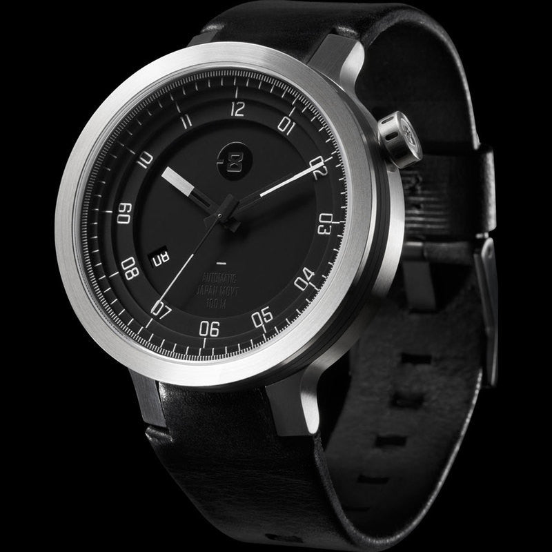 Minus-8 Layer Black/Silver Automatic Watch | Leather