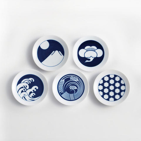 Kihara Mamezara Season Plates Set of 5-KI-setSP