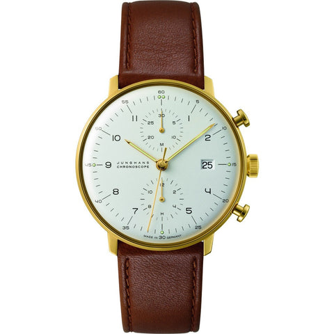 Junghans Max Bill Automatic Chronoscope Watch | Brown Calfskin 027/7800.00