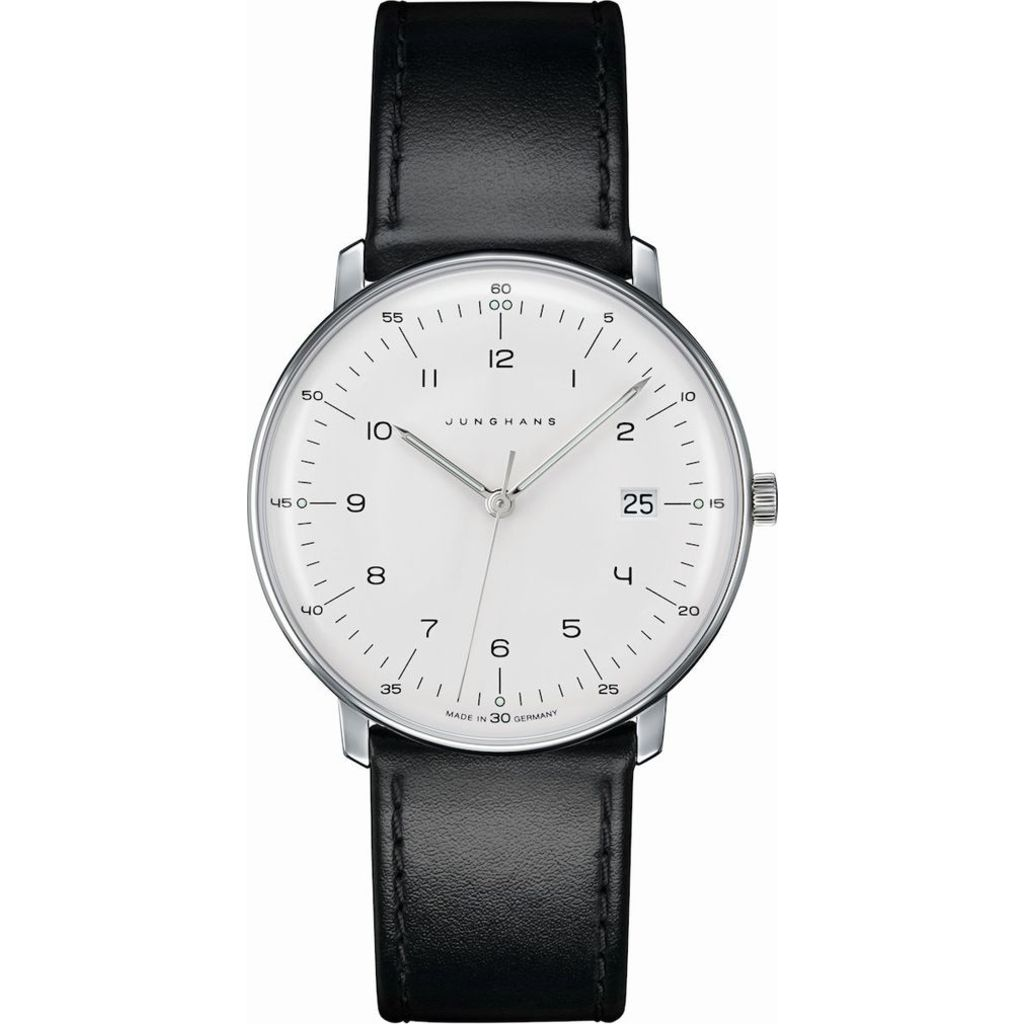 Junghans Max Bill Ltd. Graphic Line Quartz Date Watch | Black Calfskin 041/4762.00