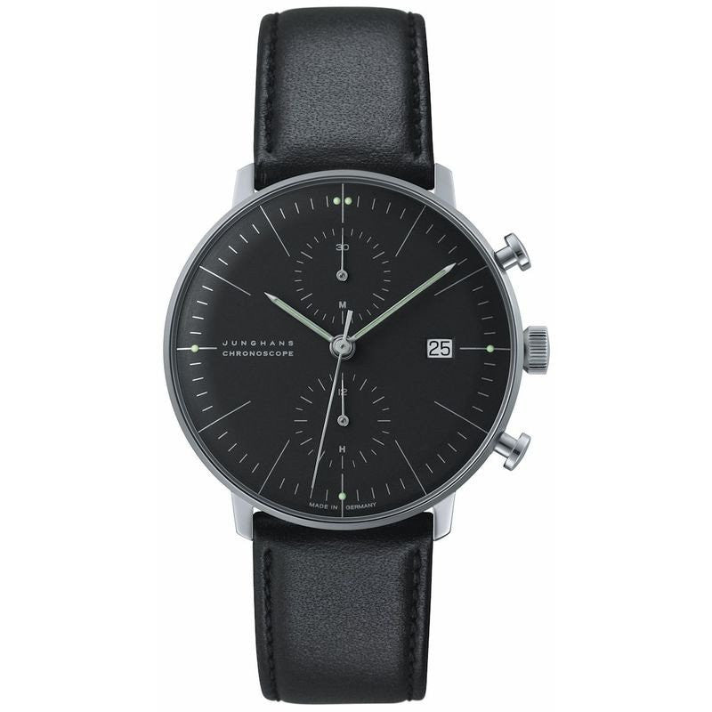 Junghans Max Bill Chronoscope Watch | Black Calfskin 027/4601.00