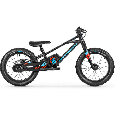 Mondraker Grommy 16 Kid's E-Balance-Bike | Black/Flame Red/Light Blue