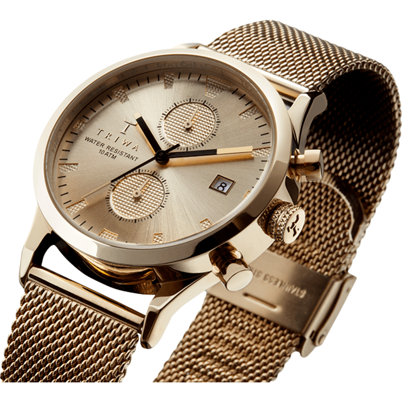 Triwa Sort of Black Gold Chronograph Watch | Gold Mesh