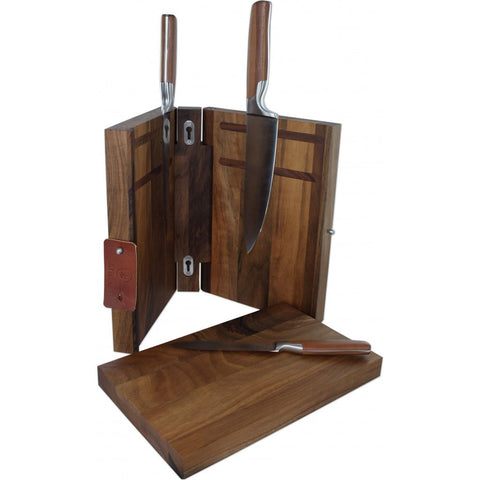 Mono Sarah Wiener Knife Block w/ Cutting Board | Walnut Wood