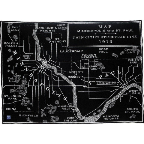 Faribault Saint Paul Map Wool Throw | Black 18600 50x65