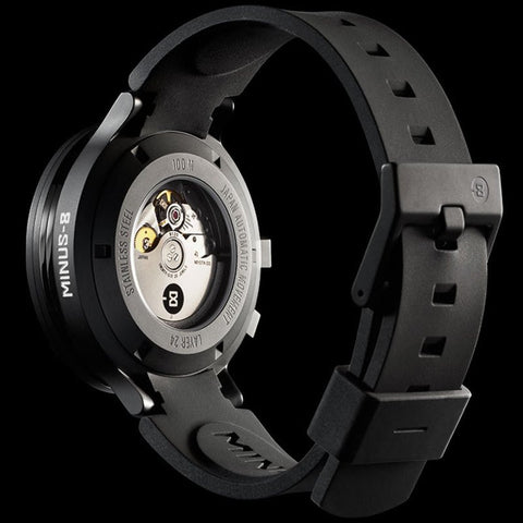 Minus-8 Layer 24 Black/Black Automatic Watch | Silicone