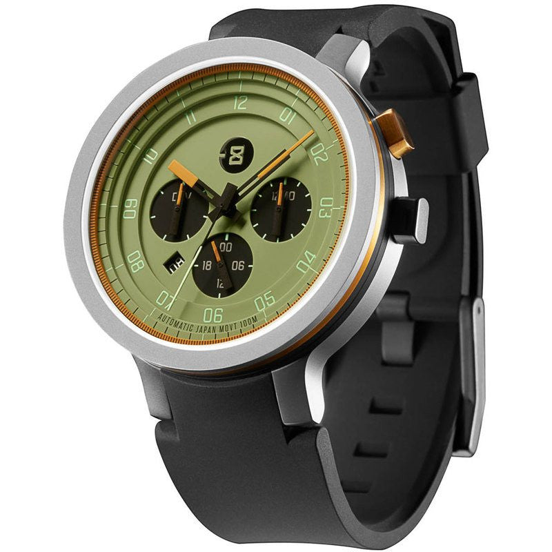 Minus-8 Layer 24 Silver/Olive Automatic Watch | Silicone