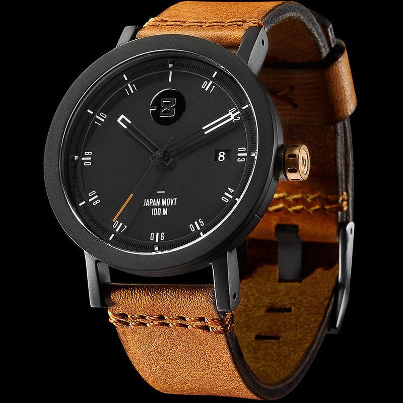 Minus-8 Zone 2 Black/Gold Watch | Leather