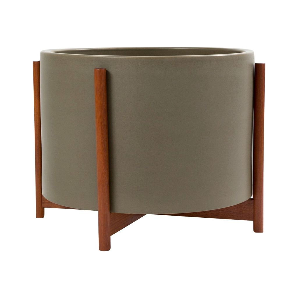 Modernica Case Study Large High Pan with Wood Stand | Pebble CER-W-HPN-20-13.5-PEB
