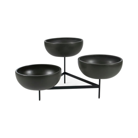 Modernica Case Study Large Bowls with Tri Stand | Charcoal CER-W-BWL-22-9-TRI-CHR