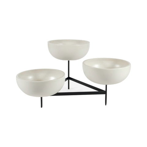 Modernica Case Study Large Bowls with Tri Stand | White CER-W-BWL-22-9-TRI-WHT