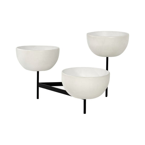 Modernica Case Study Medium Bowls with Tri Stand | White CER-W-BWL-16-7-TRI-WHT