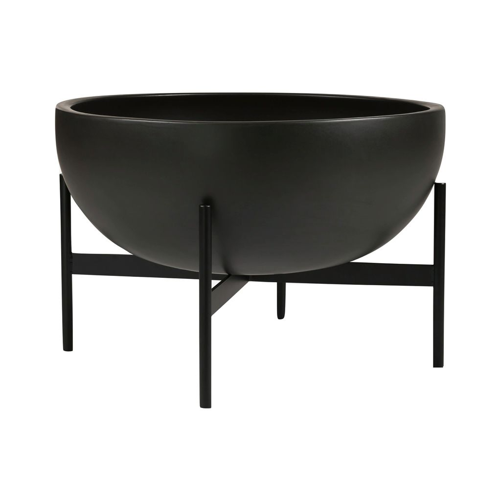 Modernica Case Study Large Bowl with Metal Stand | Charcoal CER-W-BWL-22-9-MET-CHR